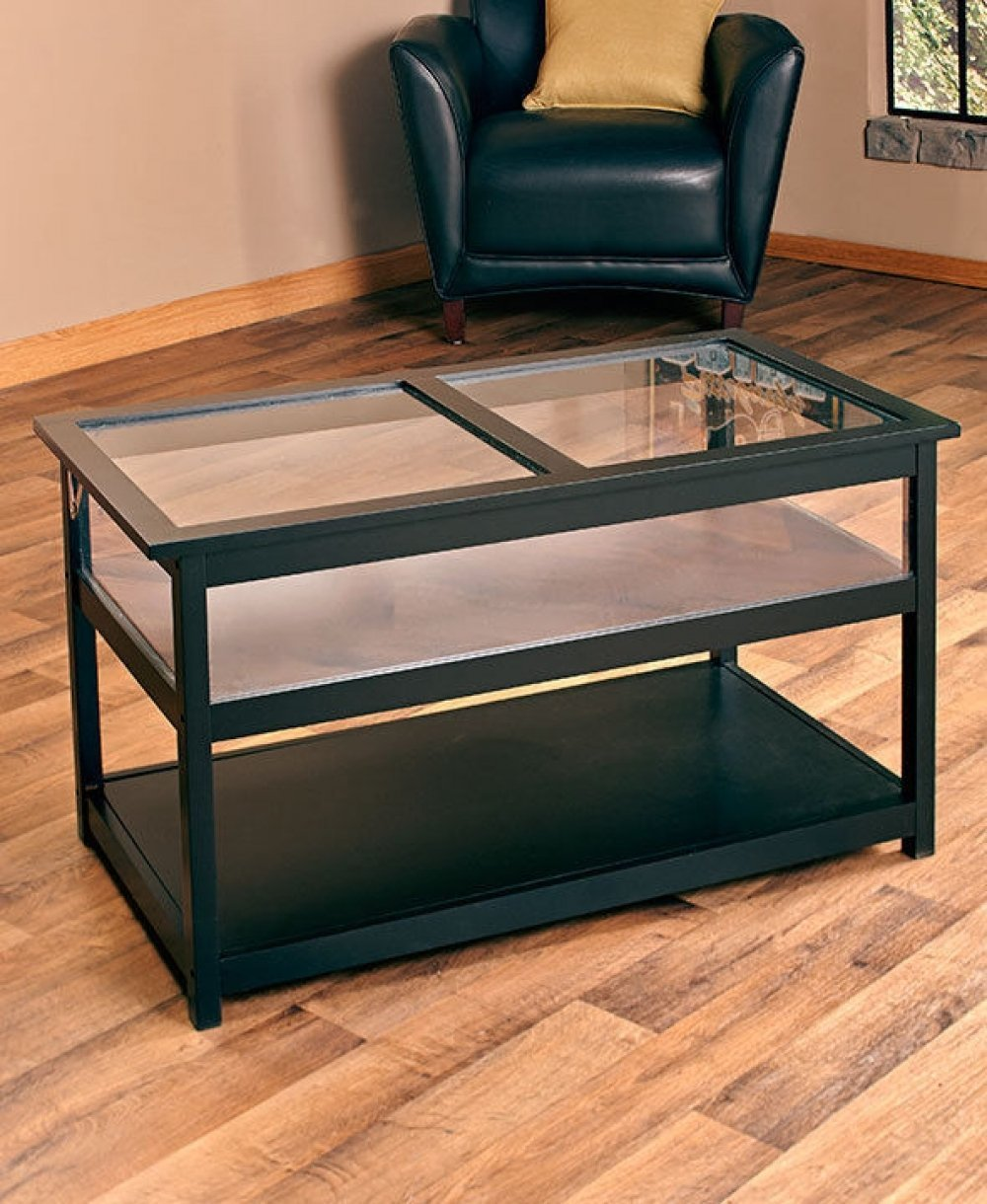 glass top end side table shadow box