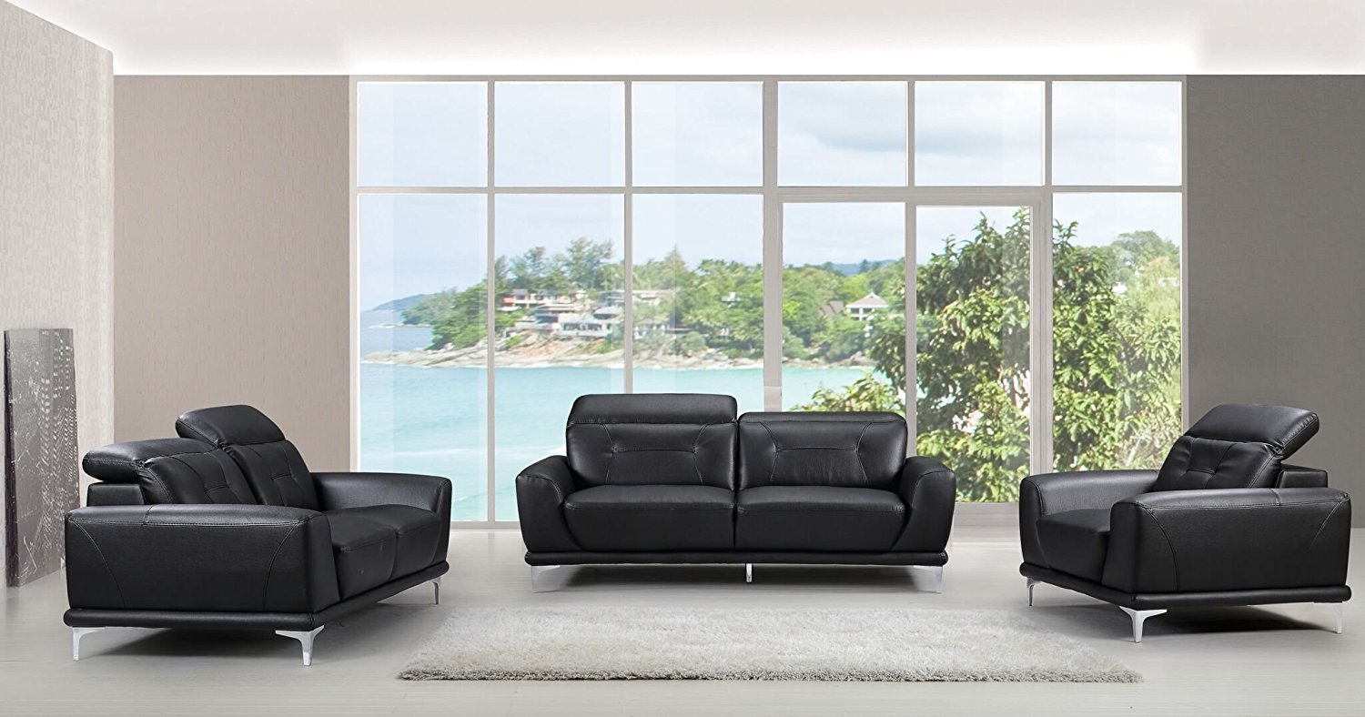 3 piece black leather living room set with chairs buy container furniture direct brady mid century modern three bonded
