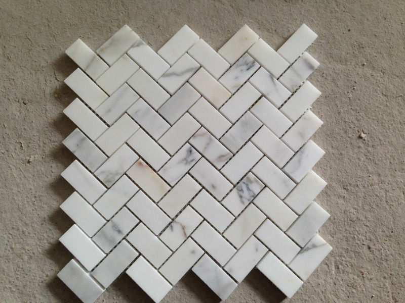 kitchen backsplash glass tiles island pottery barn carrara marble herringbone mosaic tile 1 x 4 w/ thassos ...
