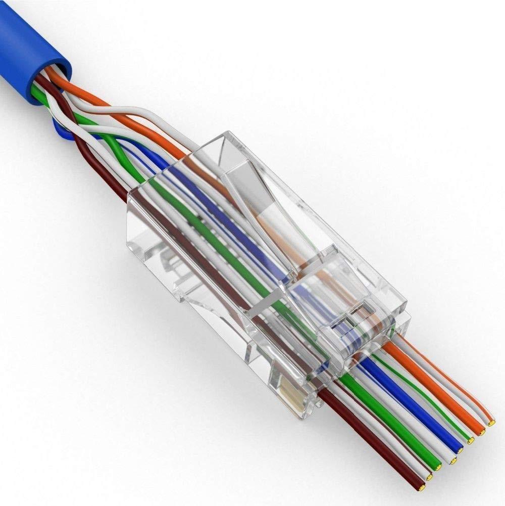 hight resolution of get quotations fidgetfidget network cable 200 pcs cat6 plug ez rj45 modular 8p8c connector end pass through