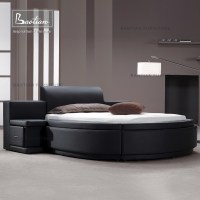 New Fashion Design Genuine Leather Round Bed With Drawers ...