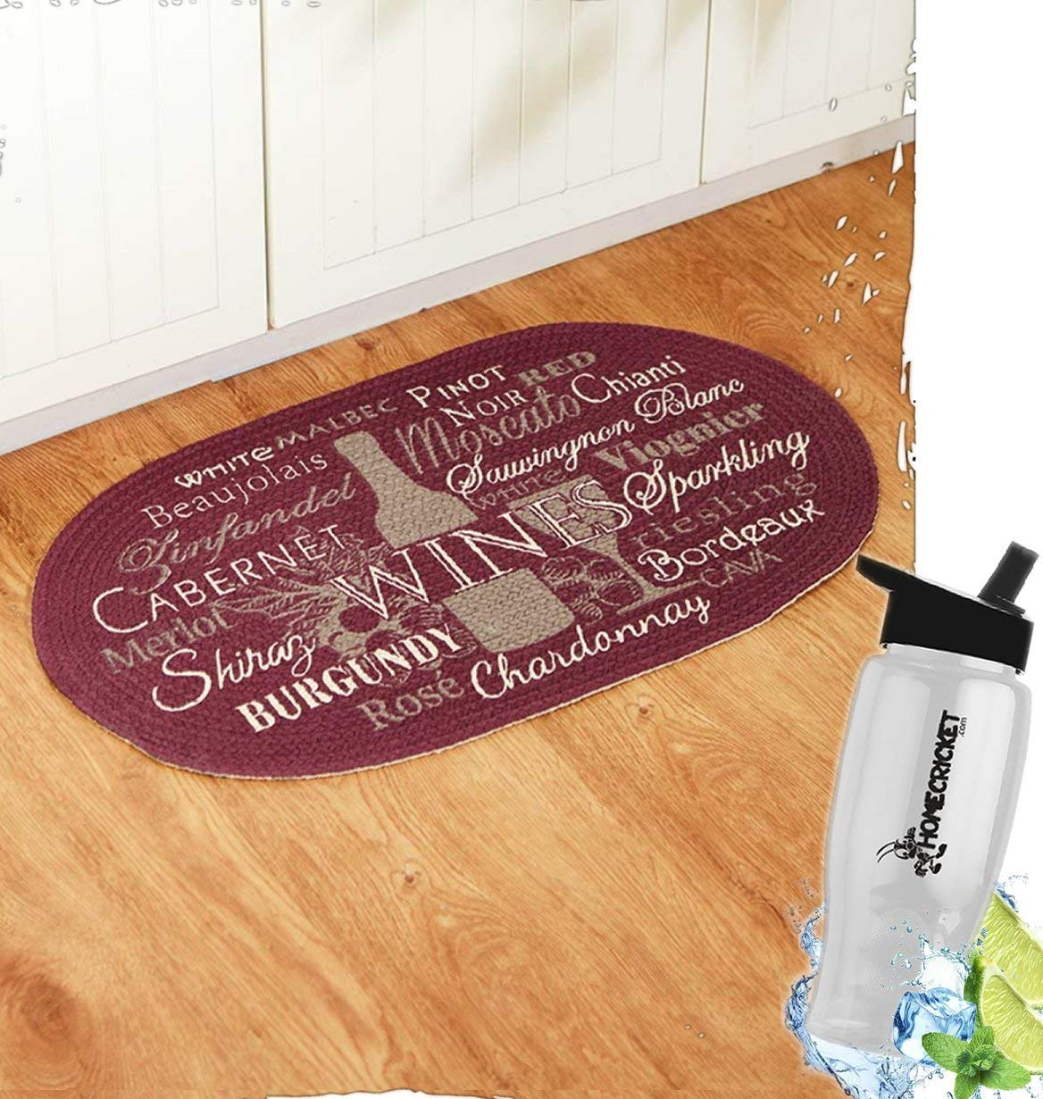 wine kitchen rugs cheap cabinets rug find deals on line at get quotations gift included cotton braided winery floor oval free bonus water bottle