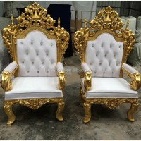 Luxury Carved Wooden King Quince Throne Chair King And