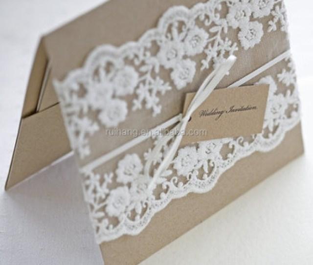 Kraft Paper Wedding Invitation With Lace Burlap Rope