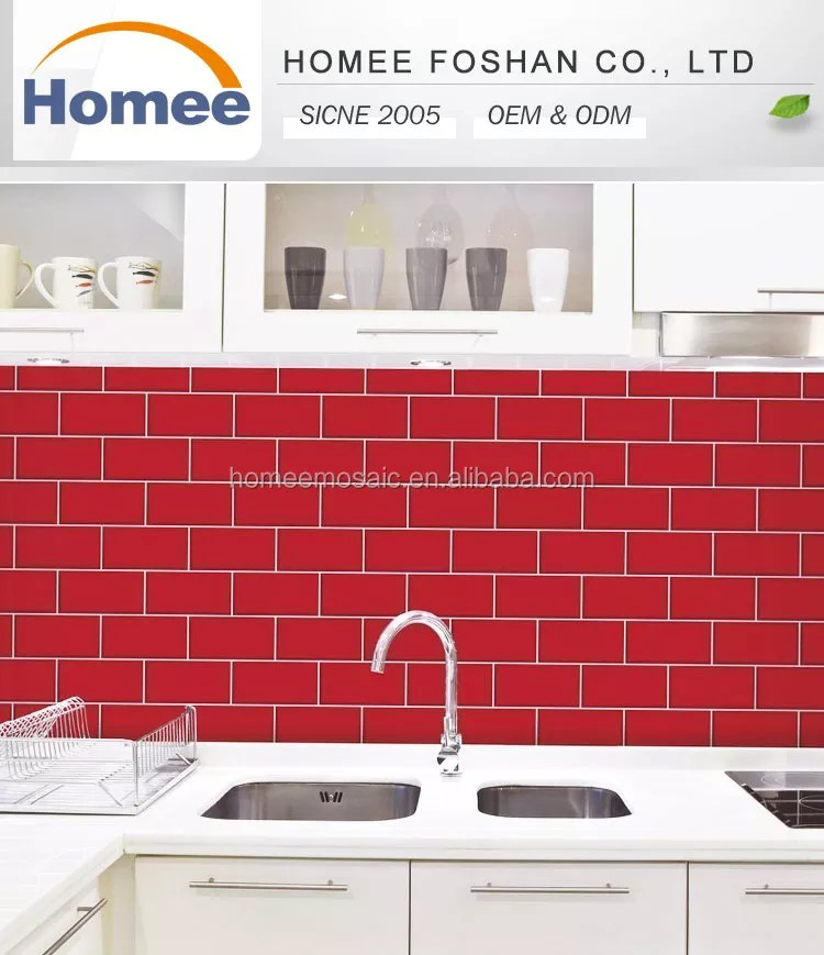 color beveled wall mosaic decoration subway tile kitchen decor backsplash decorative red ceramic mosaic hotsale kitchen wall buy wall mosaic