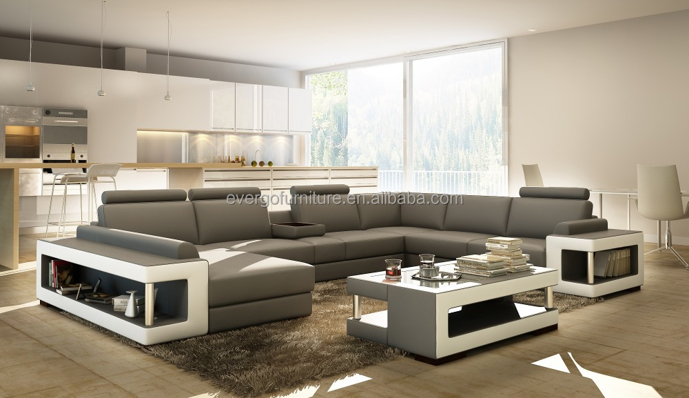 sofa gray color folding snack table couch living room sectional modern genuine leather