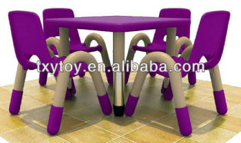 Kids Furniture Plastic Purple Table And Chairs Lt