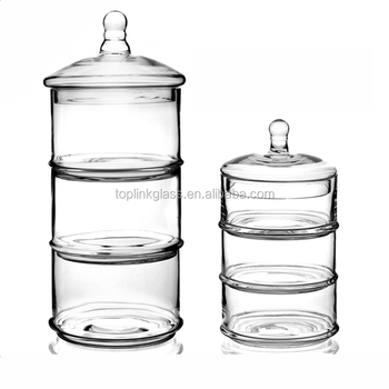 Glass Candy Jar 3pcs Stackable Glass Storage Jar For Candy