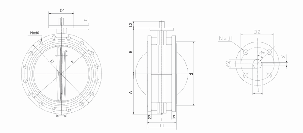 1200mm Pn10 Manual Concentric Double Flange Butterfly