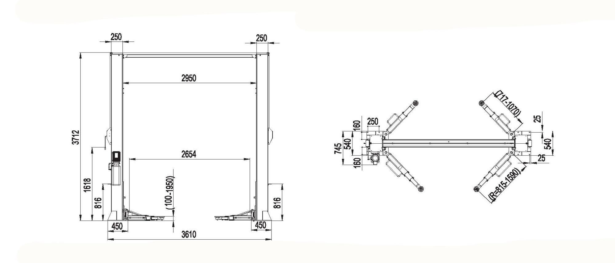 Heavy-duty Manual One Side Release Hydraulic Two Post Car