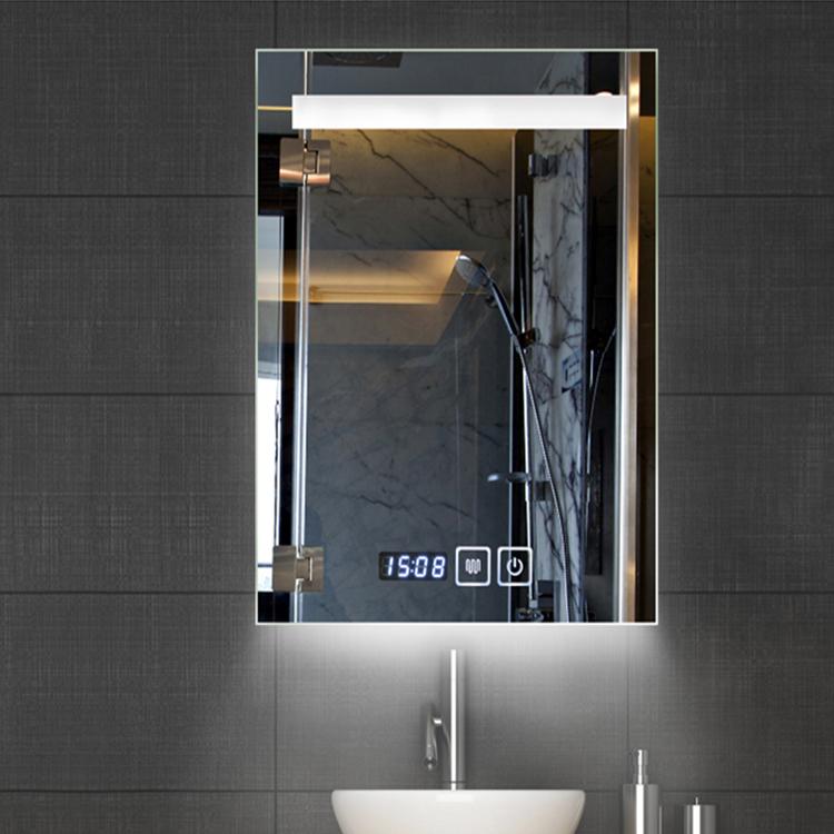 Antifog Function Led Bathroom Mirror With Digital Clock