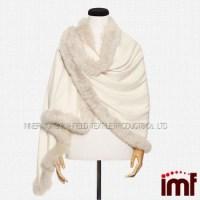 White Fox Fur Shawl Cashmere Shawl With Fur