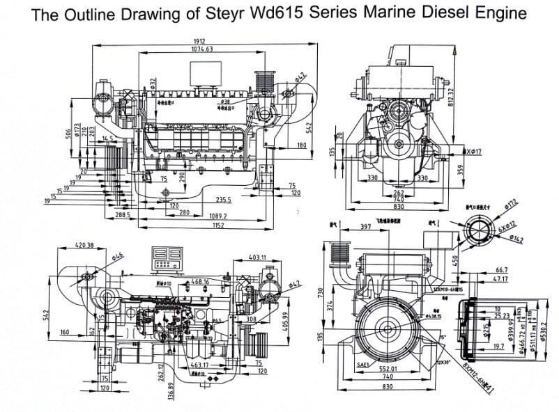 WEICHAI WD615 Series Marine Diesel Engine for boat, View
