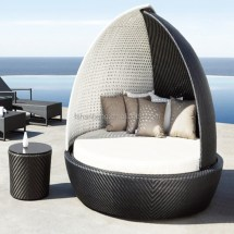 Rattan Outdoor Wicker Patio Daybed with Canopy