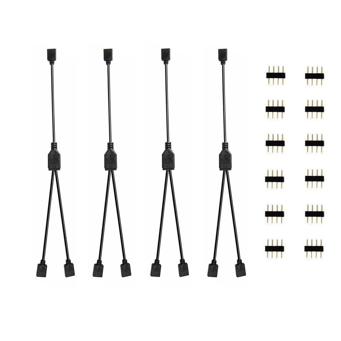 Buy 2 Pcs Black 4 Way Led Rgb Splitter Cable 4 Pin Rgb Led