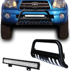 get quotations black bull bar bumper grille guard with removable skid plate 126w led light bar  [ 1300 x 1300 Pixel ]