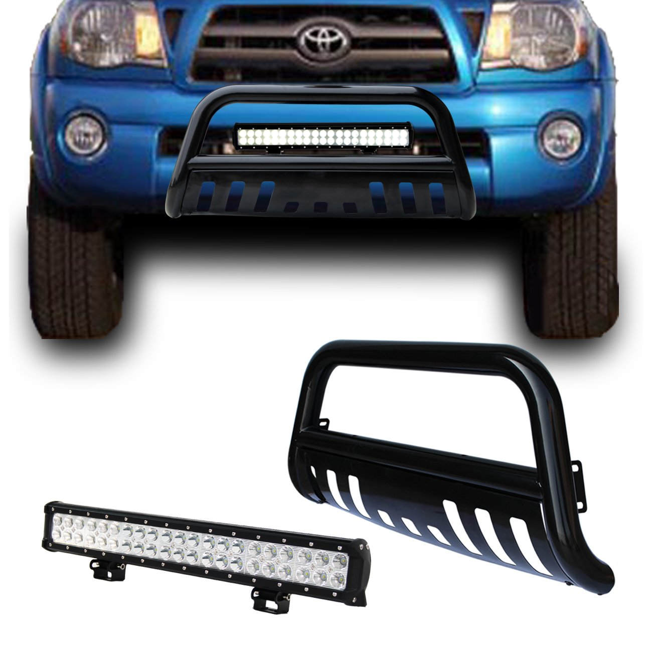 hight resolution of get quotations black bull bar bumper grille guard with removable skid plate 126w led light bar