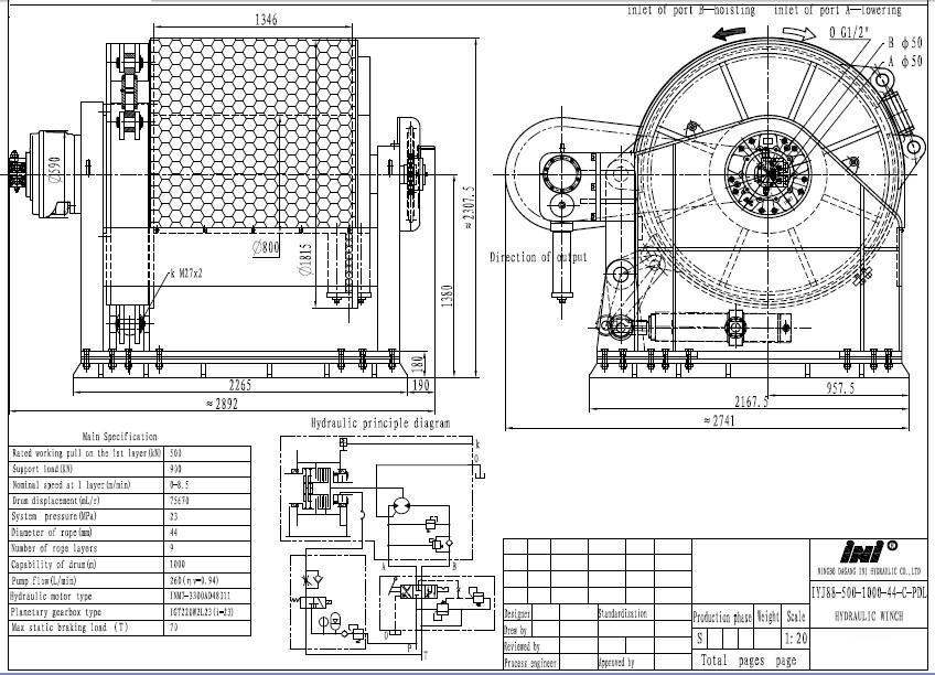 INI 500kN 50 ton hydraulic mooring winch, View mooring