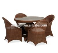 Glass top round table and chairs rattan outdoor home ...