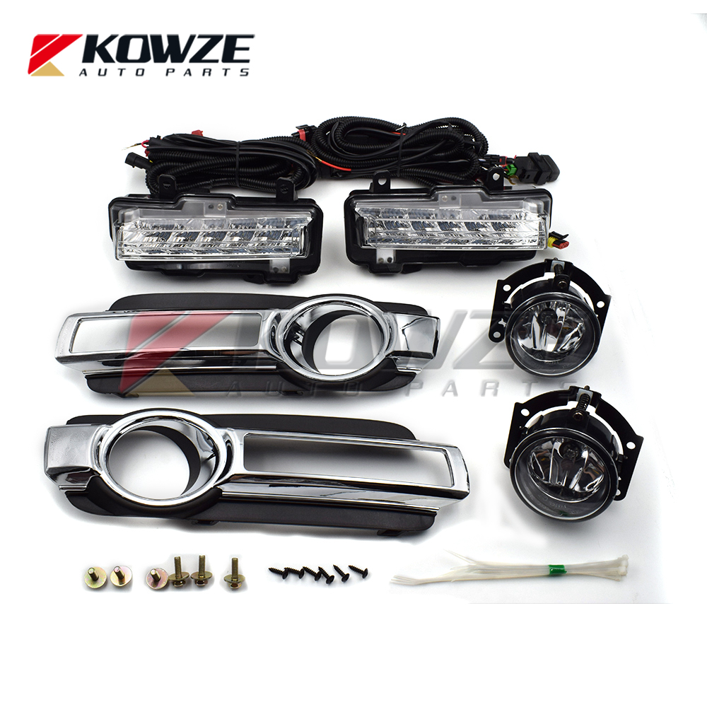hight resolution of fog lamp daytime running light with wires complete set for mitsubishi pajero montero 4 iv 2015