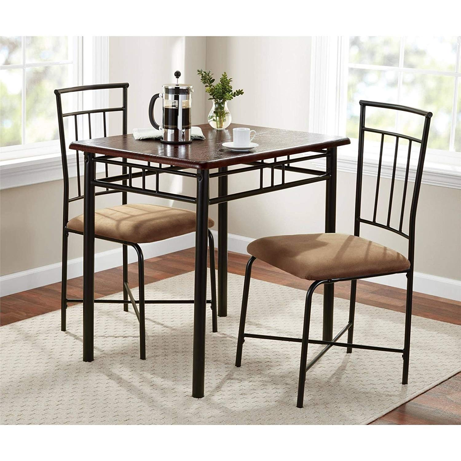 small kitchen table counter height and chairs cheap dining metal find deals on line at get quotations walnut 3 piece set bistro breakfast furniture