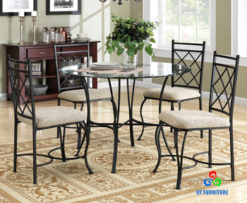 kitchen dinette set large clocks dining room sets metal glass table chairs wholesale buy round dinning and chair