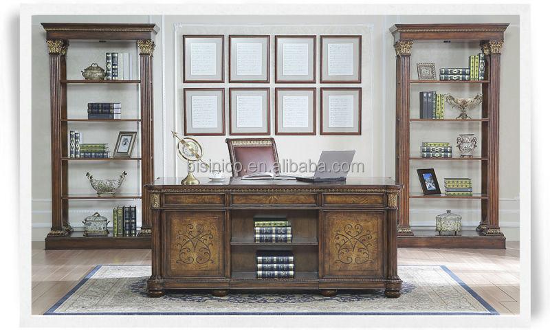 Antique Classic Style Office DeskGlass Door Bookcase