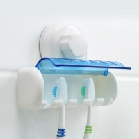 Plastic Wall Mounted Suction Cup Bathroom Toothbrush ...