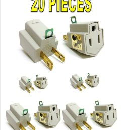 get quotations 20 pieces 3 prong plug to 2 prong outlet electrical ground ac adapter ul listed [ 927 x 1200 Pixel ]