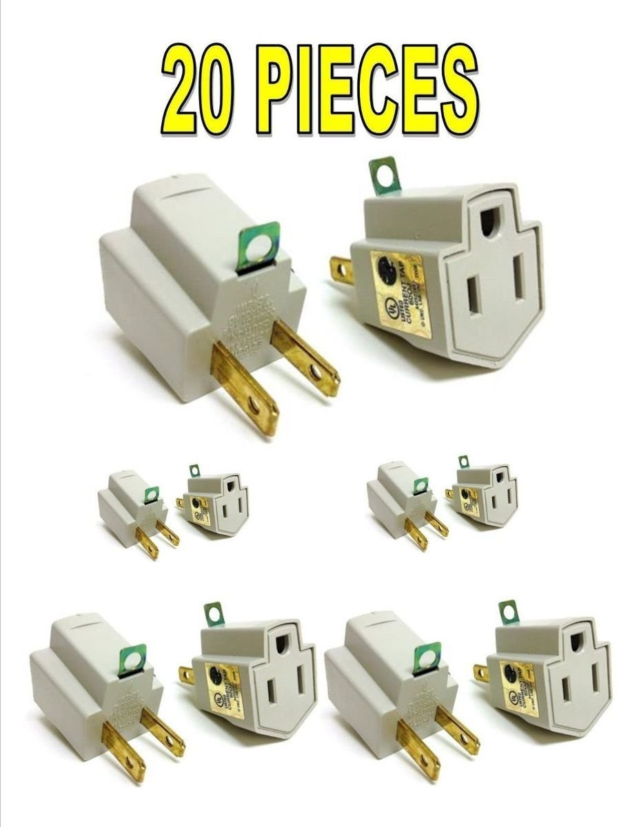 hight resolution of get quotations 20 pieces 3 prong plug to 2 prong outlet electrical ground ac adapter ul listed
