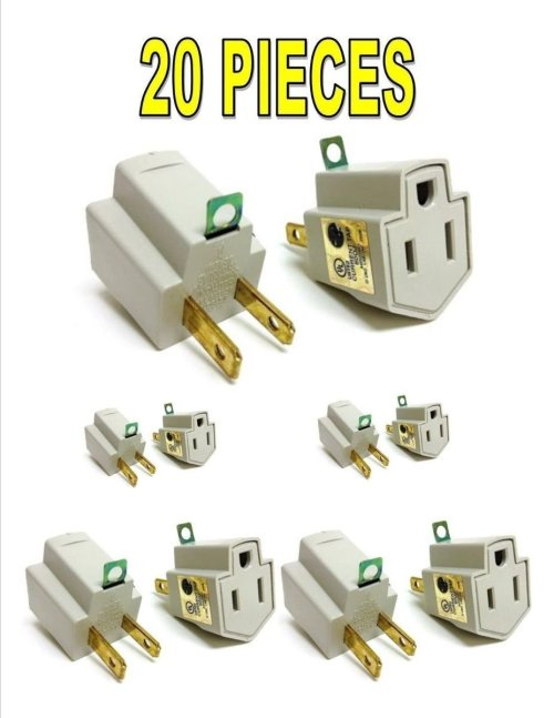 small resolution of get quotations 20 pieces 3 prong plug to 2 prong outlet electrical ground ac adapter ul listed