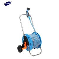 Metal Long Handle Garden Hose Reel Cart With Two Plastic ...
