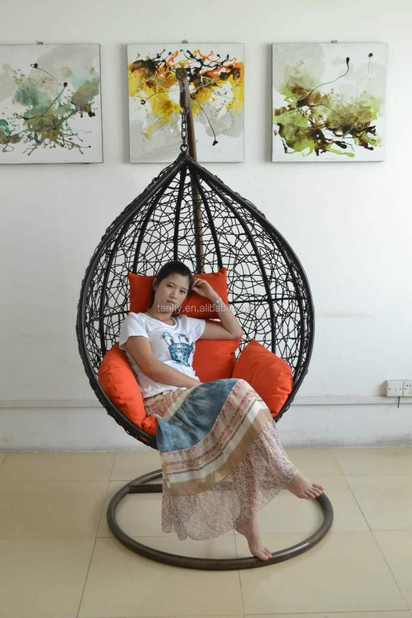 Outdoor Rattan Swing Hanging Heart Shaped Egg Chairs - Chair