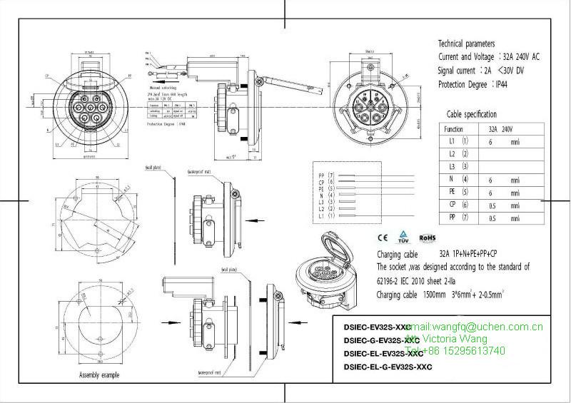 IEC 62192-2 electric vehicle charging socket/ IEC 62196-2