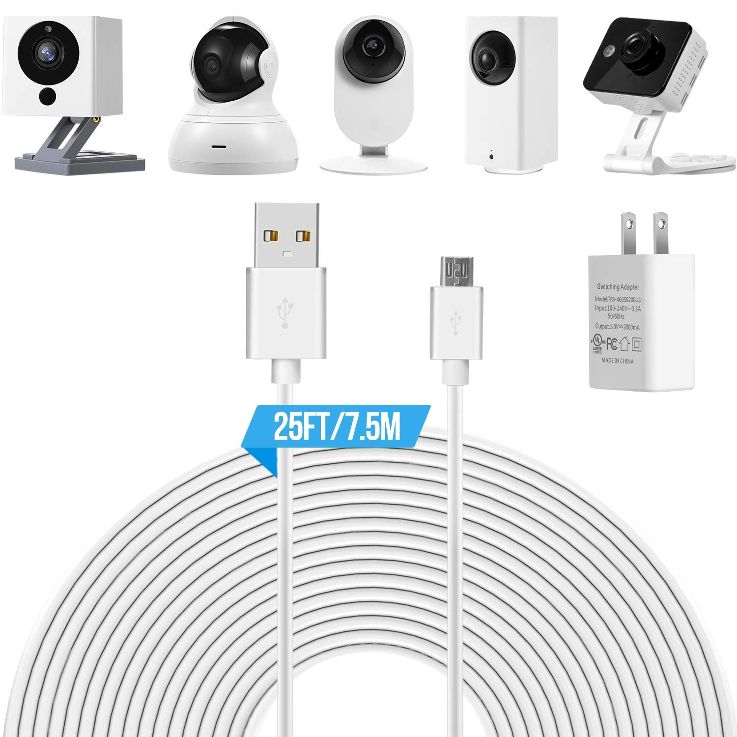 Buy 25ft Power Extension Cable For Wyze Cam Pan, Yi Camera