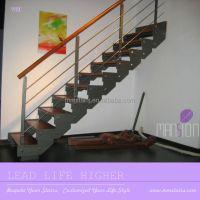 Indoor Wooden Prefabricated Stairs Steel Stringer - Buy ...