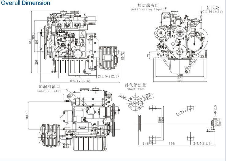 380J-3 High speed marine diesel engine with gearbox, View