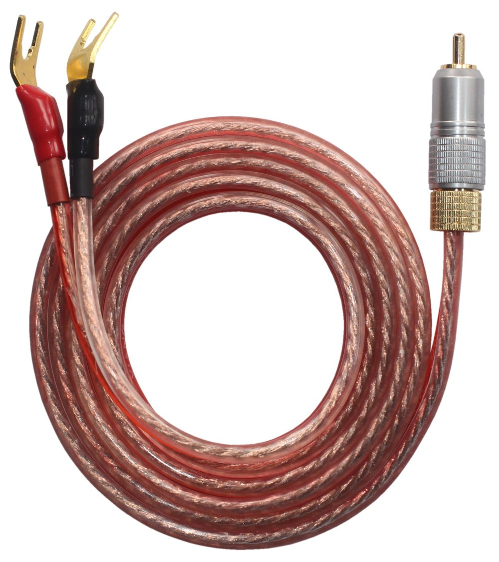 medium resolution of kr ry speaker wire pair with rca male to 2 pair spade plug 2