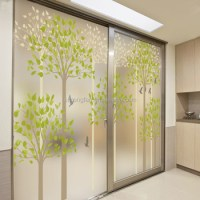 Frosted Translucent Window Film Decorative Green Leaves