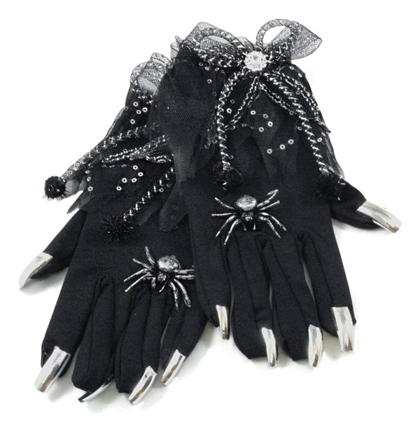 Spooky Witch Spider Gloves With Nails Orange Halloween