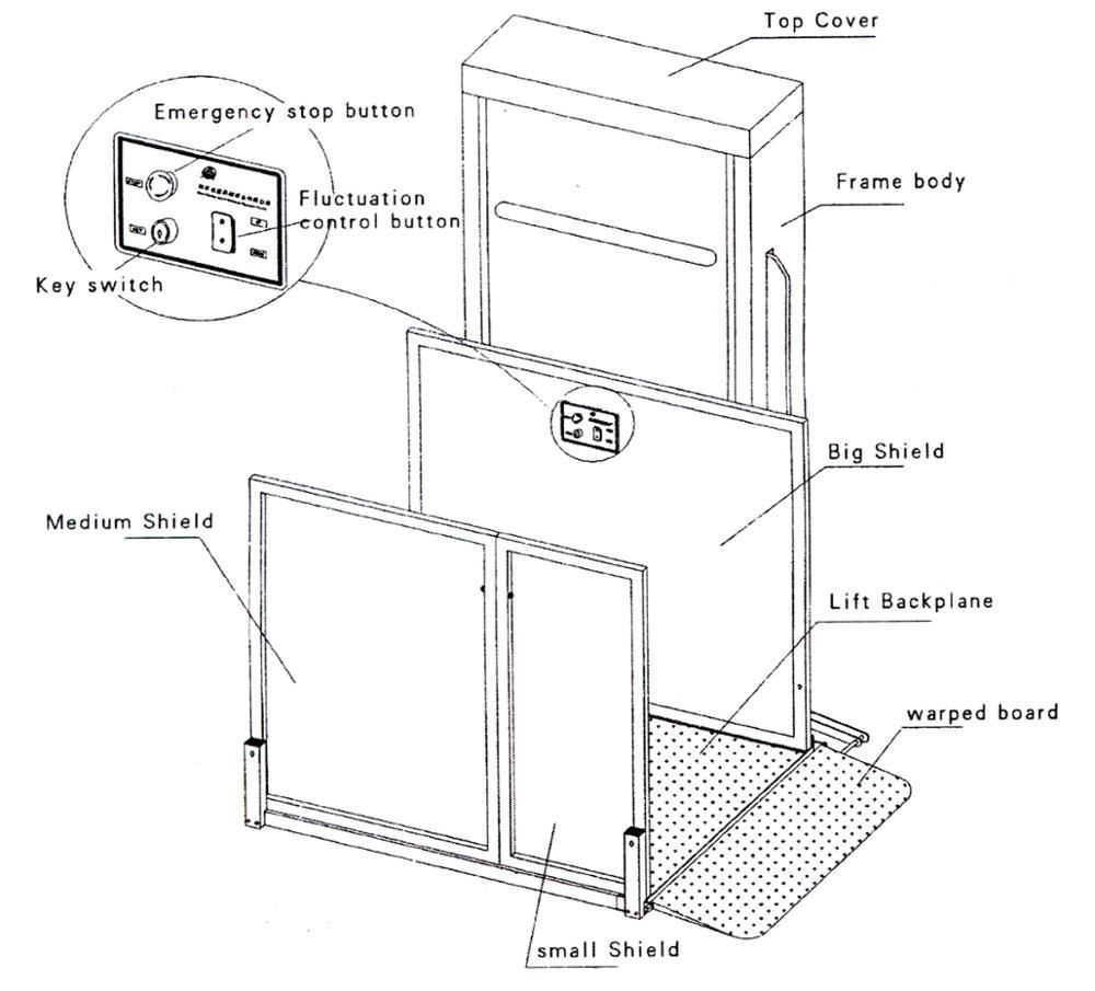 Outdoor Indoor Vertical Wheelchair Platform Lift For