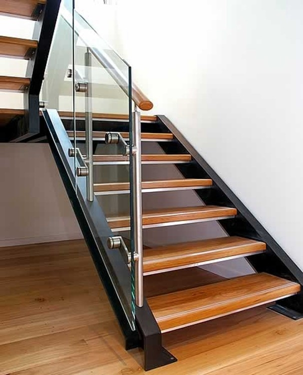 Exterior Metal Glass Railing Stair Steel Wood Straight | Metal And Glass Staircase