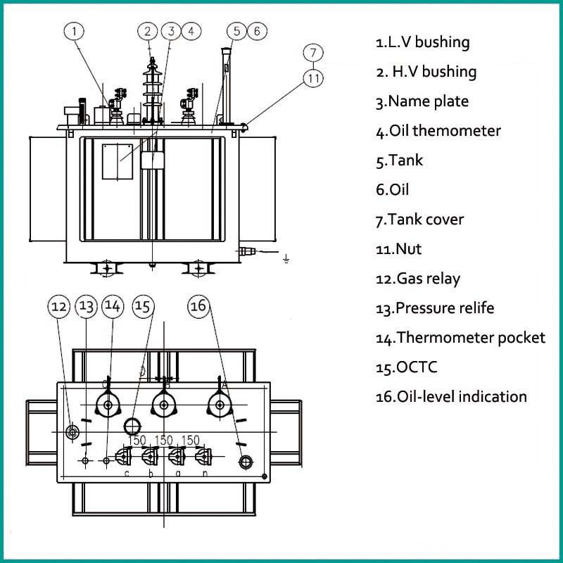 160kva 11kv 400v Step Down Oil Distribution Transformer