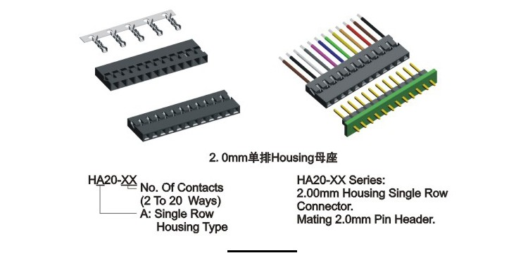 Wire To Board Crimp Style 2mm 18 Pin Electrical Connector