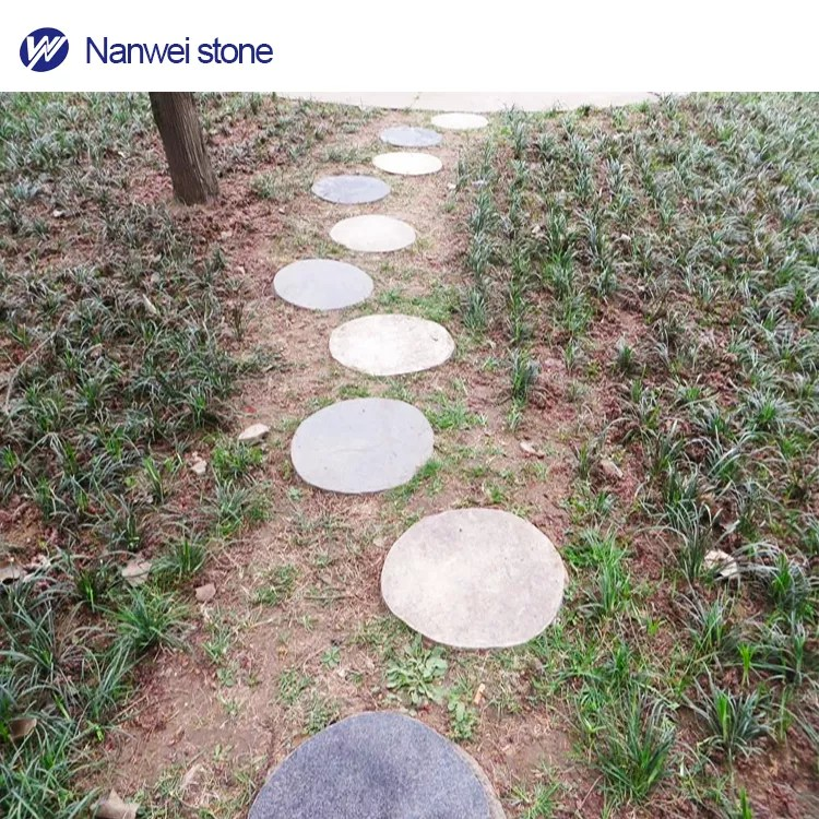 outdoor decorative patio landscaping path paving large round natural grey granite cheap garden stepping stones buy path paving outdoor decorative
