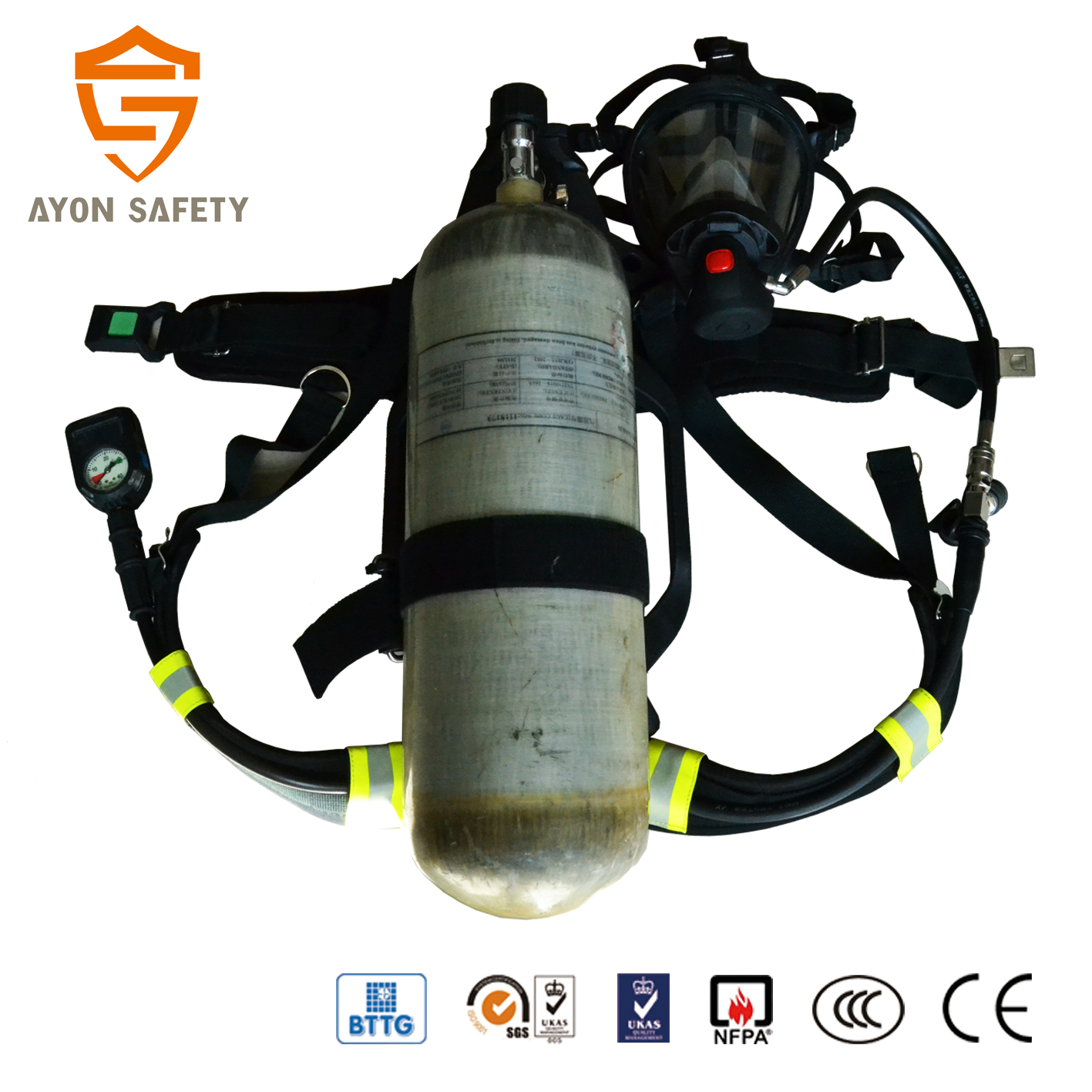 hight resolution of en137 self contained breathing apparatus scba with 9l carbon fiber cylinder for military and civil defence using ayonsafety