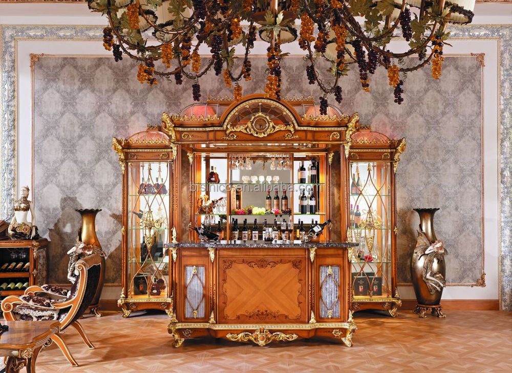 Luxury French Style Baroque Home Bar Furnitureeuropean Classic Mini Barwooden Hand Carved Bar