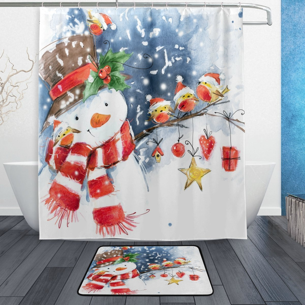 Snowman Bathroom Sets Buy Snowman Christmas Winter Holiday Shower Curtain Hooks Set Of