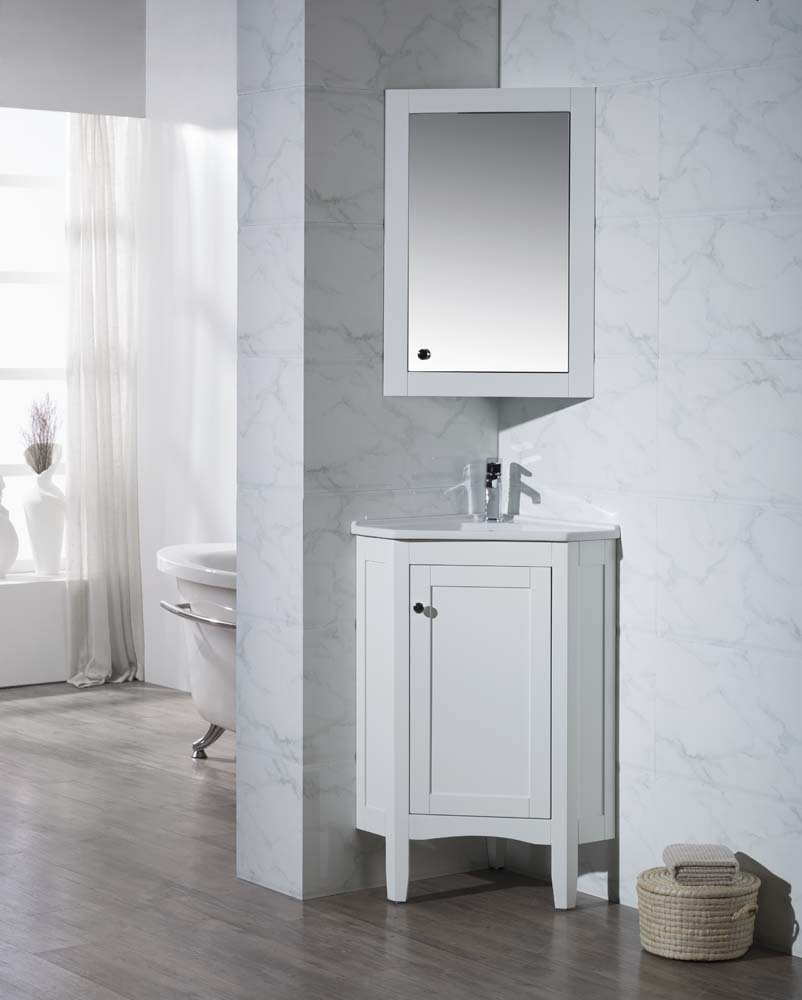 hight resolution of get quotations stufurhome ty 650pw modern monte corner bathroom vanity with medicine cabinet white 25