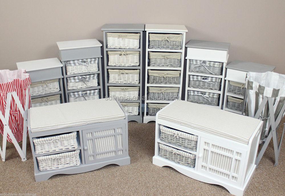 Wicker Chest Of Drawer Storage Unit White Wood Furniture Bathroom Cabinet